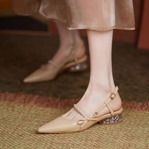 Block Heels Clear Sandals Bow Shoes 2021 Summer Suit Female Beige Chunky Pearl Pointed Fashion Low Retro Black Girls Comfort Ope