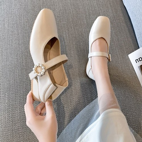 Casual Woman Shoe Female Footwear Square Toe Shallow Mouth Elegant Clogs Platform Modis Low Heels New Dress Retro Comfortable On