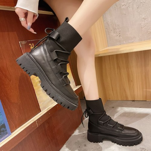 Chunky Motorcycle Boots for Women Autumn Winter 2021 Fashion Round Toe Lace-up Combat Boots Ladies Shoes Booties Woman