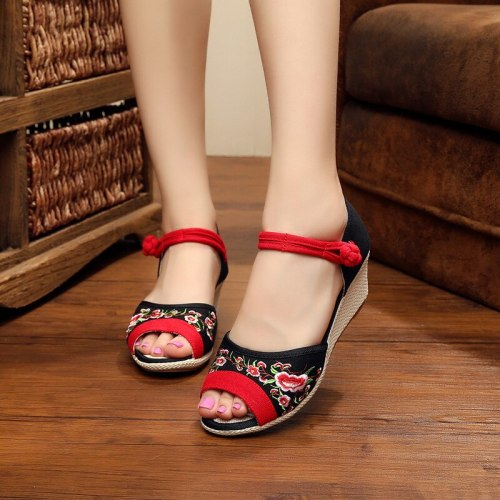 Old Beijing Cloth Shoes Embroidered Wedges Peep Toe Cotton Cloth Women's Summer Sandals