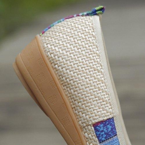 Handmade Women Linen Cotton Bow knot Flat Shoes Comfortable Slip On Walking Shoes Retro Ladies Casual Soft Flats