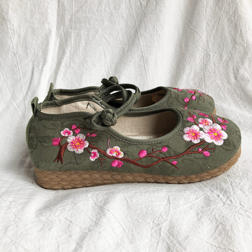 Plum Embroidered Women Casual Cotton Fabric Ballet Flats Handmade Ladies Comfort Canvas Platform Shoes
