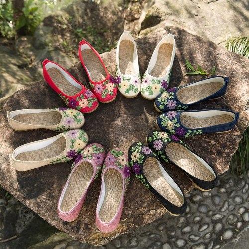 Women Flats Flower Slip On Cotton Fabric Linen Comfortable Ballerina Flat Shoes Sapato Feminino