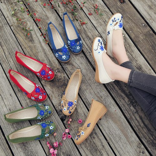 Brand 3D Flowers Appliques Women Linen Slip on Ballet Flats Breathable Fabric Ladies Casual Chinese Shoes Ballerina