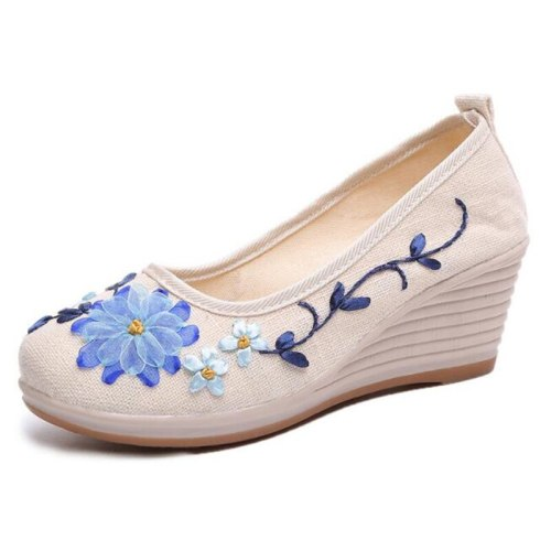 2021 Spring Summer Ethnic Floral Women Wedge Shoes Pumps High Heels Casual Slip On Ladies Shoes WHH3003