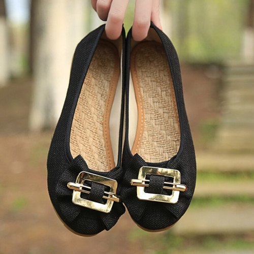 Women Glitter Linen Cotton Bowknot Ballet Flats Slip On Round Toe Ladies Casual Comfortable Ballerinas Shoes Balck Grey