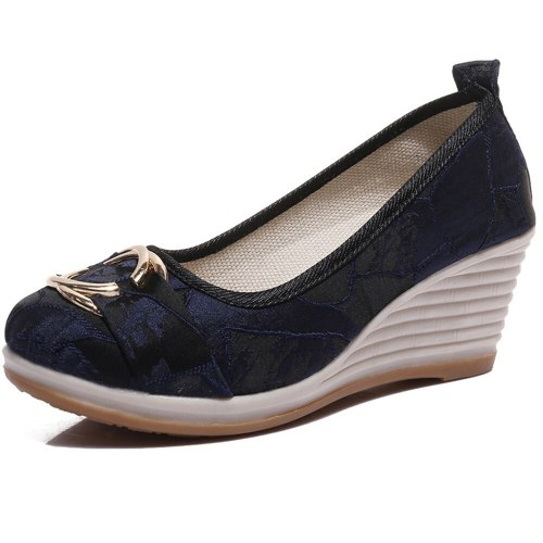 Vintage Chinese Women Pumps Linen Shoes Retro Cloth Canvas Wedges Shoes Woman Platforms Zapatos Mujer 5cm Heel