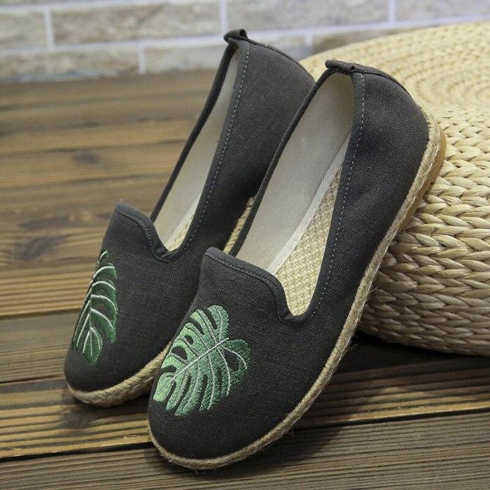 Canvas Embroidered Women's Ballet Flats For Women Shallow Rrtro Shoes Woman Platform Espadrilles Footwear Female Sneaker