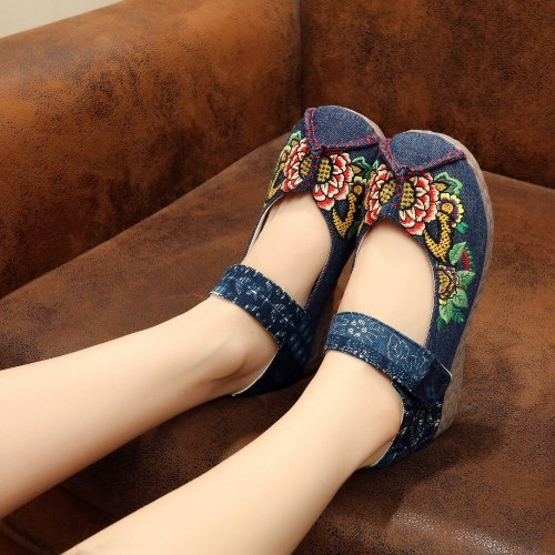 Flowers Embroidered Women Casual Linen Cotton Loafers Breathable Handmade Vintage Ladies Walking Flat Shoes Zapato Mujer