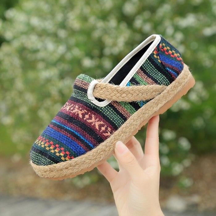 Handmade Women Linen Cotton Slip On Loafers Non-Slip Low Top Espadrilles Sneakers Ladies Platform Casual Flat Shoes