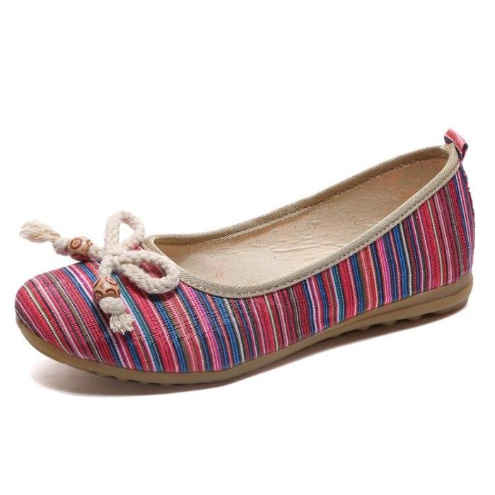 Embroidered Women Ballet Flats All Season Striped Shallow Slip On Ballerina Women's Flat Shoes Sapato Feminino