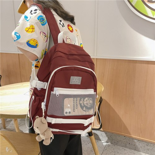 Fashion Laptop Book Bags Backpack College Cute Stripe Female Women Luxury Net Nylon School Bags For Teenage Girls Solid Color