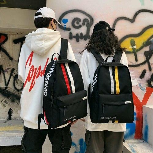 Vogue  College School Bag Casual New Simple Women Backpack Striped Book Packbags for Teenage Travel Shoulder Bag Rucksack