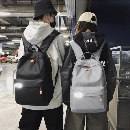 2021New Reflective Oxford Cloth Backpack Simple Student Schoolbag Earphone Jack Fashion Travel Bag