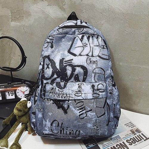 Women's School Backpack for Girls Nylon Travel Rucksack Casual Lady Large Capacity Bagpack Female Student Bookbag Letter Mochila
