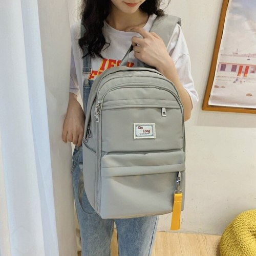 Solid Color Backpack For Women 2021 Waterproof Nylon Multi Pocket Travel Backpacks Large Capacity School Bag For Teenage Girls