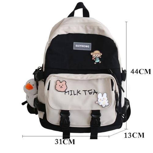 Canvas Women Backpack Fashion Student Bookbag for Girls Schoolbag Laptop Mochila Female Cute Travel Rucksack Shoulder Bag