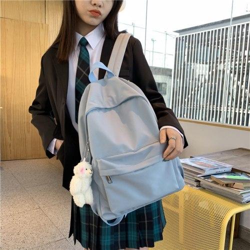 Simple Solid Color Backpack Women Waterproof Nylon Women Backpack Casual School Backpack For Teenage Girl Travel Backpack
