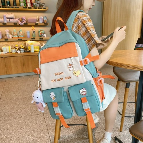 Top Quality Panelled Nylon Backpack for Lady Men Large Capacity School Bag Dural Use Zipper Travel College Laptop Backpack