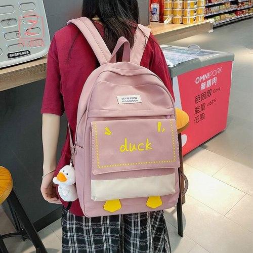 Junior High School School Bag Girl School Bag 2021 New Korean Version Of The Large-capacity Backpack Fresh And Simple Backpack