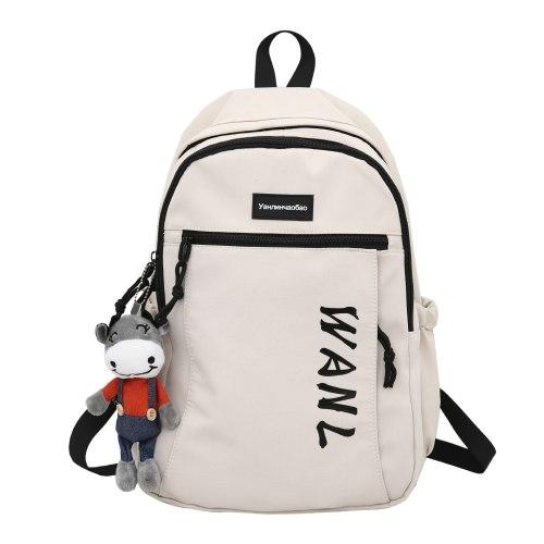Casual Backpack Men Korean Youth School Bag Female Travel Nylon Backpack With Pendant