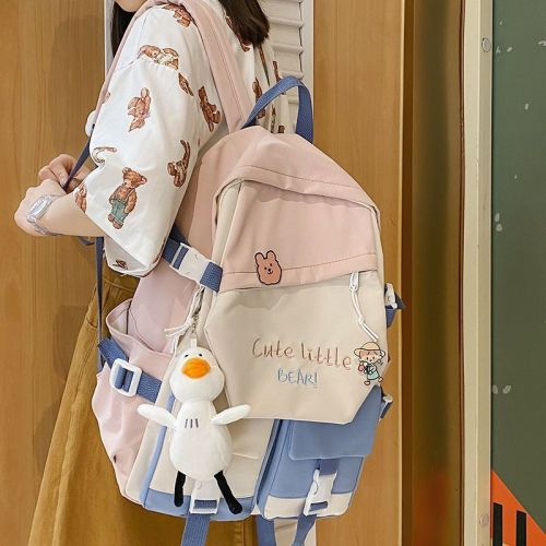 Backpack Female Fashion Japanese Casual Belt Pendant Double Pocket Student Girl School Bag