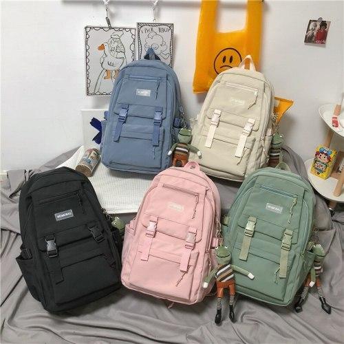 Solid Color Shoulders Women's Back Pack School Backpack For Girls College Teenager Preppy Letters Book Travel Female 2021