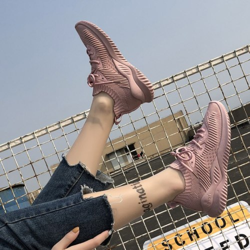 2021 Autumn New Shoes Woman Sneakers Flying Woven Mesh Flats Casual Outdoor Breathable Slip-on Shoes