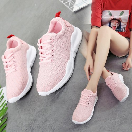 2021 spring and autumn new female shoes student Korean breathable casual running shoes comfortable flying woven sports shoes