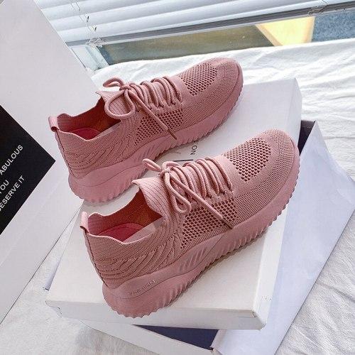 Women Casual Shoes Fashion Breathable Walking Mesh Flat Shoes Summer White Sneakers Women 2021 Tenis Feminino Female Shoes Pink