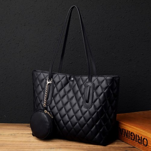 Temperament shoulder bag 2021 new fashion Joker leather texture rhombic large capacity tote bag handbag