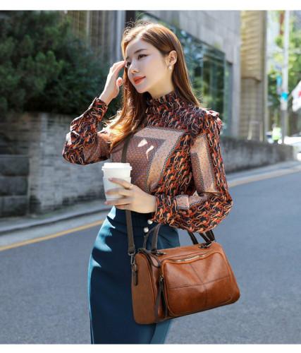 2021 Retro Large Capacity Women Shoulder Bag Soft PU Leather Crossbody Bag Female Casual Boston Designer Messenger Handbag Totes