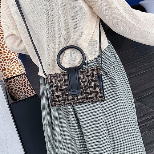 New Material Casual Women Flap Bag Round Handle Handbag Checked Pattern Fashion Shoulder Bag