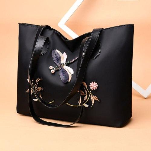 2021 New Women Handbag Big Tote Large Capacity Casual Oxford Embroidery Waterproof Laptop Office Travel Shoulder Bag Shopper
