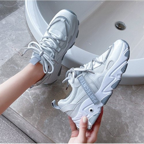 Fashion Sneakers 2020 New Arrival PU mesh White Shoes Woman Light Platform chunky Sneakers Zapatillas Mujer Ladies Casual Shoes