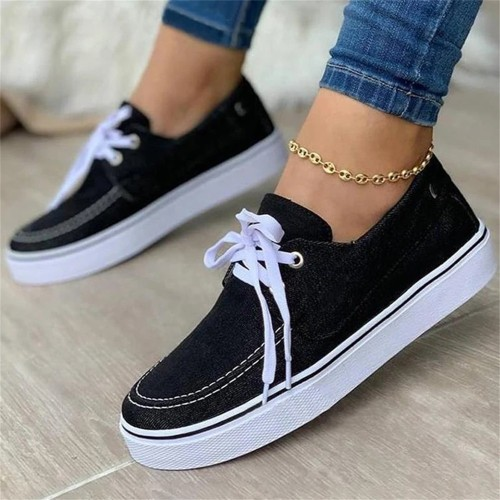 Women's Canvas Shoes 2021 Spring New Solid Denim Fabric Ladies Lace Up Casual Loafers 35-43 Large-Sized Female Comfy Sneakers