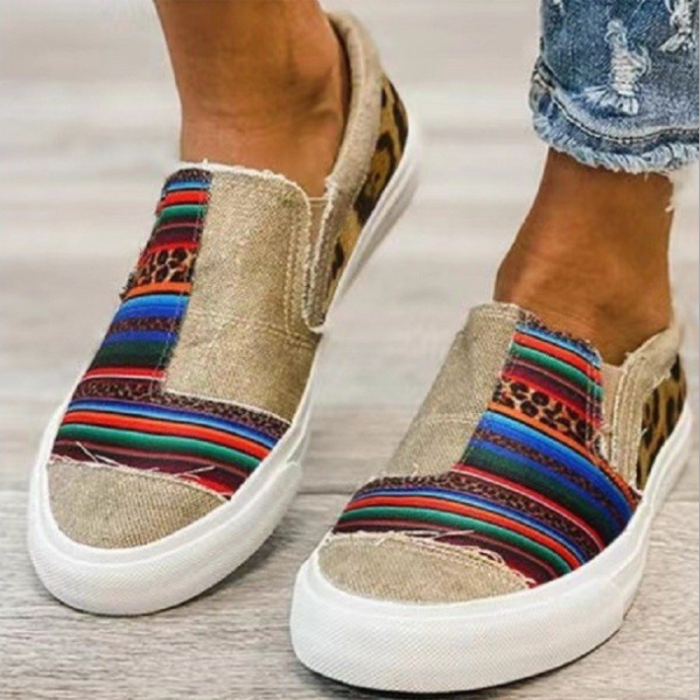 2021 Summer Sports Shoes Women's New Casual Canvas Color Matching Round Head Low-top Casual Fashion Women's Single Shoes