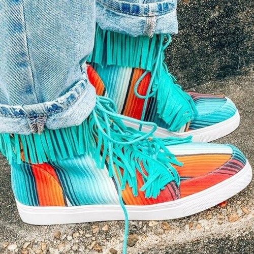 2021 Fashion Ankle Canvas Shoes Women Tassel Rainbow Denim Shoes for Women  Lace Up Flat Sneakers Female Ladies Shoes