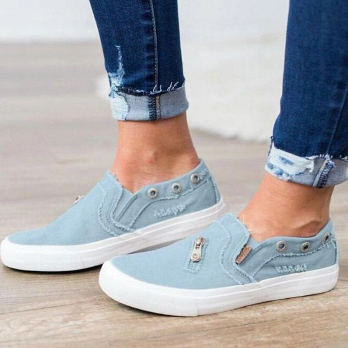 Spring 2021 loafers Large size shoes women canvas denim zipper flat lazy casual shoes soft comfortable female sneakers