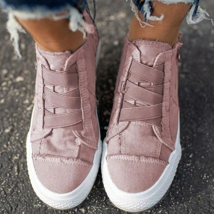 New Products of Autumn 2021 Women's Casual Canvas Shoes Thick Soled Side Zipper Sewing Fashion Popular Casual Shoes