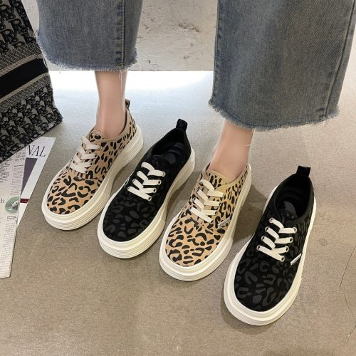 2021 Spring Women's Shoes Thick Bottom Lace Up Round Toe Korean Fashion Students Platform Ladies Shoes Leopard Casual Shoes