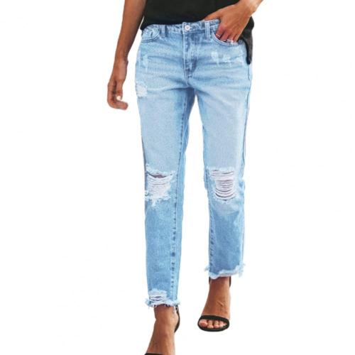2021 Women Jeans Ripped Tassels Pockets Summer Solid Color Distressed Trousers Streetwear Stretchy Denim Pants for Daily Wear