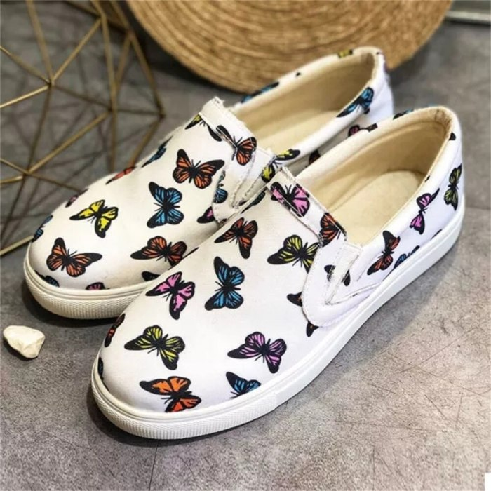 Women Butterflies Loafers 2021 Spring New Slip On Ladies Comfortable Casual Canvas Shoes Home Outdoor Running Trendy Sneakers