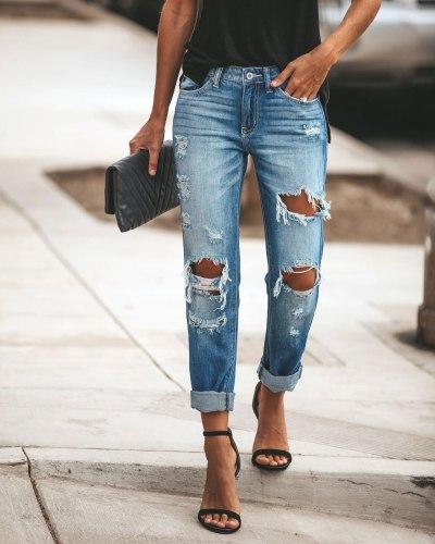 Pants Woman Casual Mid Waist Skinny Hole Ripped Jeans For Women Skinny Denim Pencil Pants Streetwear Plus Size Blue Trousers