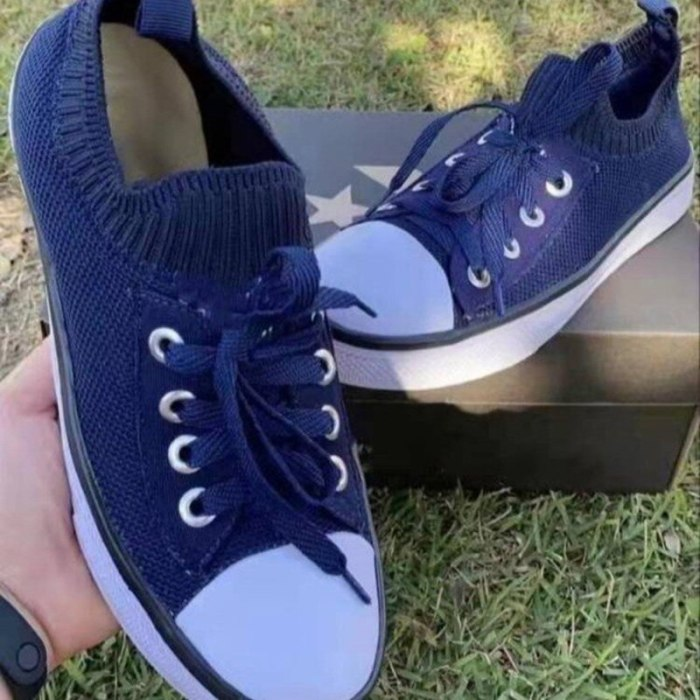 Spring Autumn Casual Flats Soft-soled Round Toe Knit Elastic White Shoes Ladies's Large Size Lace-up Canvas Shoes Single Shoes
