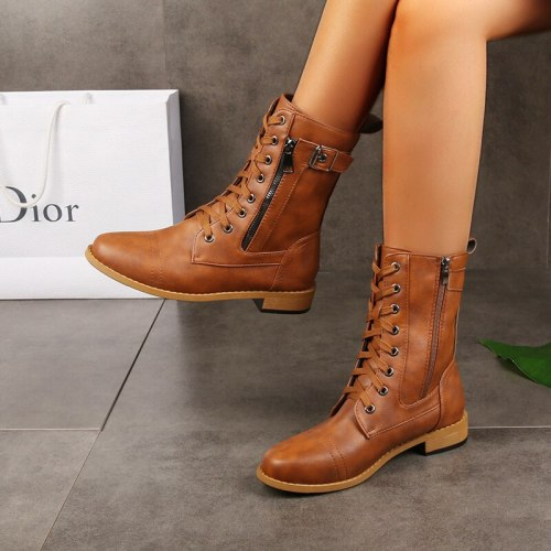Ladies low-heel casual long women's boots plus cotton warm zipper round-toe winter shoes motorcycle boots 2021 new