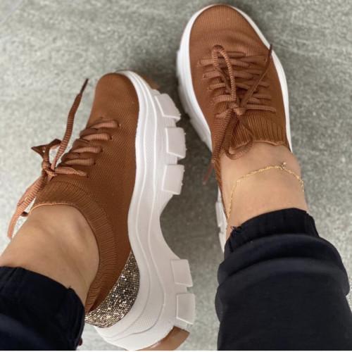 2021 Women Bling Wedges Sneakers Vulcanized Female Platform Lace-up Sport Shoes Ladies  Summer Casual Comfort Footwear Plus Size