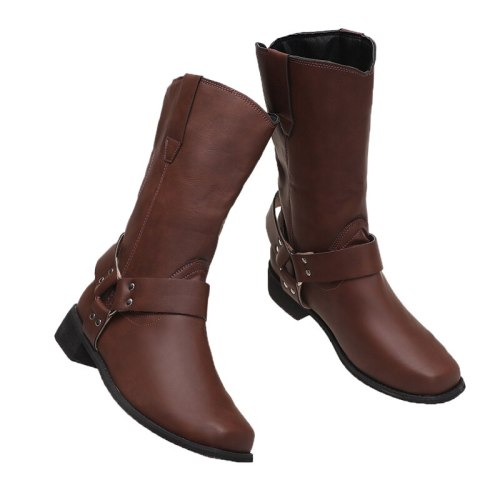 2021 Hot New Retro Mid-Calf Boots Women Shoes Autumn Winter Fashion Pu Leather Slip on Large Size Women Boots High Heels Shoes