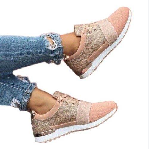 2021 New Women's Fashion Lace Up Mesh Leisure Sports Shoes Flat Bottomed Outdoor Running Shoes Anti Slip Comfort Hot Sale