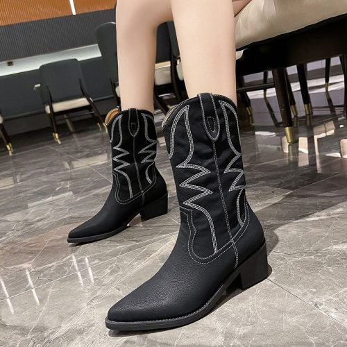2021 Women Mid Calf Boots Pointed Toe Square Heels Fashion Black Beige Leather Shoes Women Western Cowboy Boots Botas Mujer